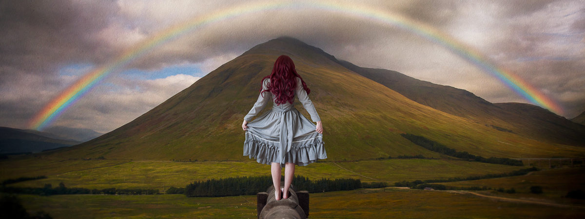 enchanted, rainbow, mountain, fine art, photograph, conceptual