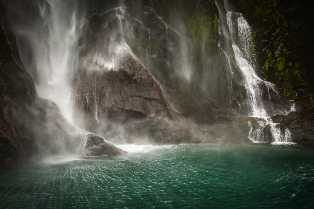 milford sound, waterfall, new zealand, south island