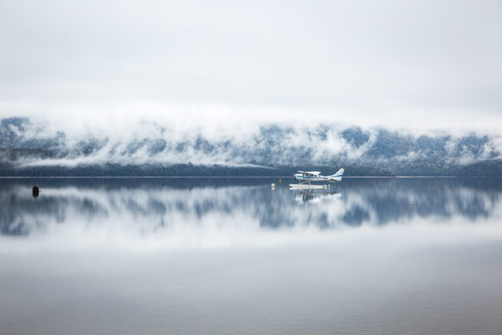seaplane, te anau, lake, reflection