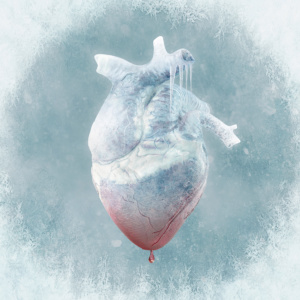 love, heart, digital manipulation, coming to life, fine art, composite, color, dark, photography, photograph, valentine, romantic, frozen, icy, icicle, blue, melting, drip, blood, thaw