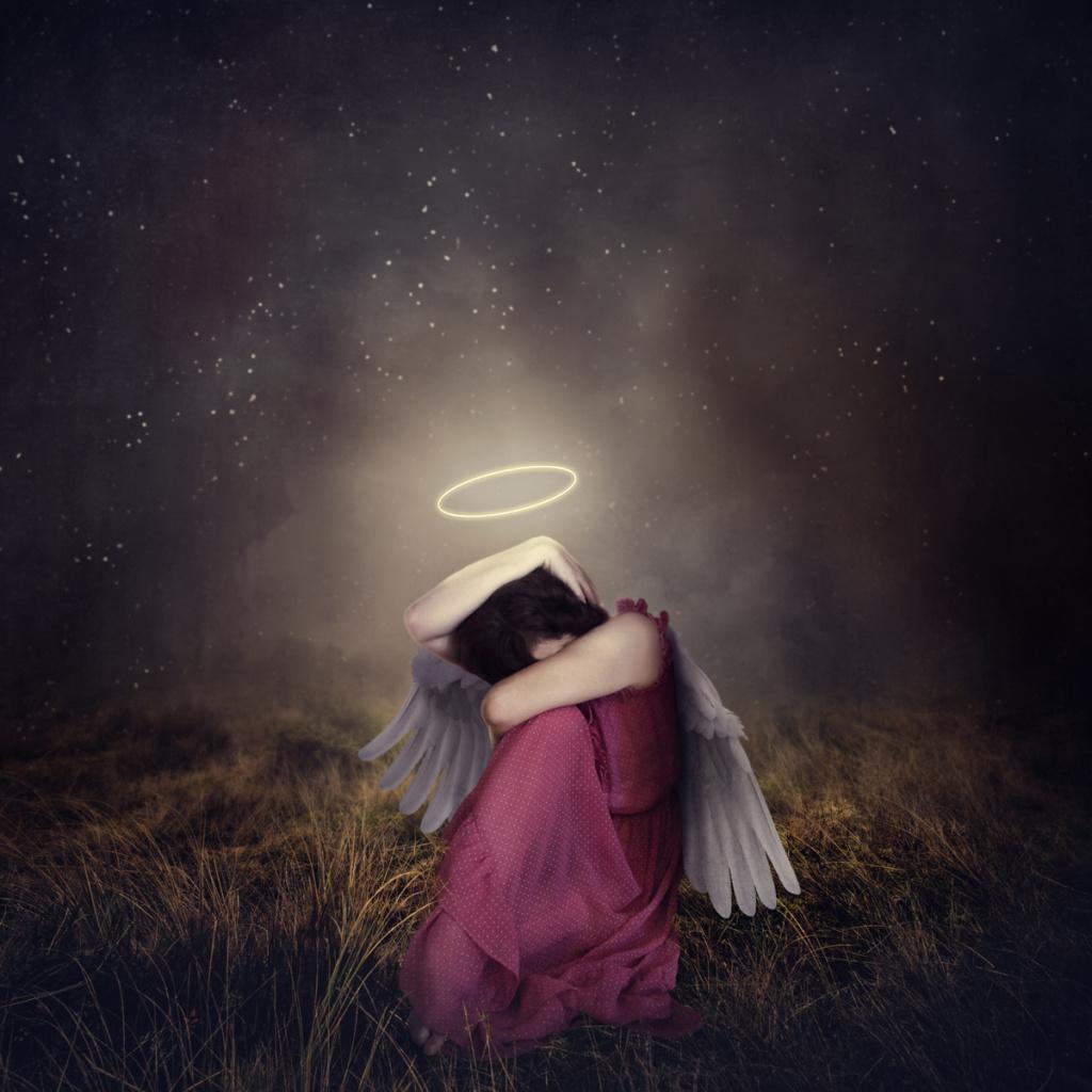 fine art, photography, photograph, angel, halo, night, shield, field