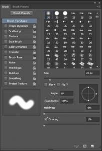 Photoshop's soft brush in brush settings panel