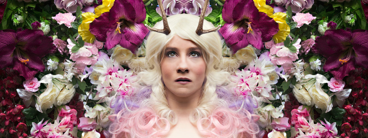 deer, flowers, mirrored image