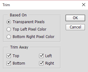 Trim transparent pixels