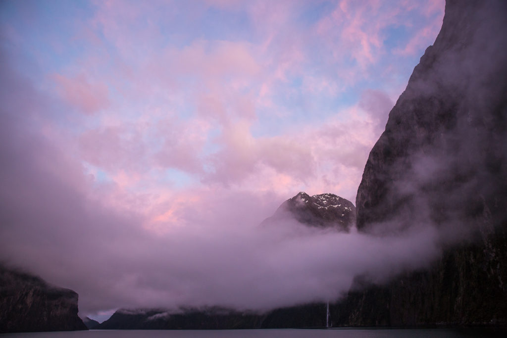milford sound, sunrise