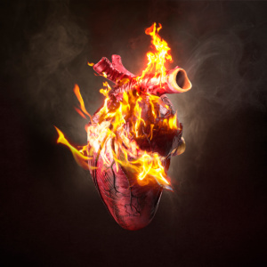 love, heart, digital manipulation, coming to life, fine art, composite, color, dark, photography, photograph, valentine, romantic, fire, smoke, alight, burning, burn